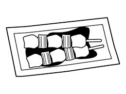 ねぎまの焼き鳥の白黒イラスト02 かわいい無料の白黒イラスト モノぽっと