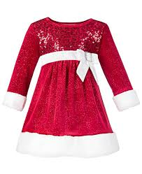 Baby Girls Faux Fur Santa Dress