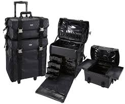 in 1 black quilted fabric rolling makeup case set with drawers professional rolling makeup case w professional soft sided