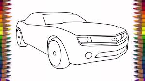 car drawing easy step by step. Brilliant Easy How To Draw A Car Chevrolet Camaro Bumblebee Step By Easy Drawing  For Kids  YouTube And Car Drawing Easy Step By