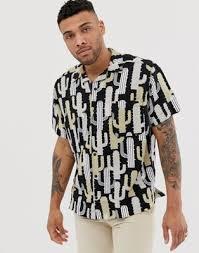 Льняная монохромная <b>рубашка</b> с отложным воротником ...