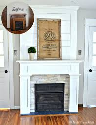 diy farmhouse style fireplace style makeover with shiplap stone tile and a simple craftsman style wood trim
