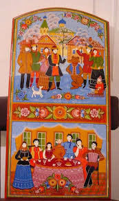 Авторская композиция и роспись деревянного сундука в стиле Городец  Композиция сходна с композицией подарочных прялок роспись в два или три яруса в верхней части пишется основной сюжет с застольем свиданием прогулкой