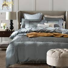 romorus 2017 luxury silk bedding set king queen size quality modern silver gray wedding bed linen duvet cover sheet sets bedding sets blue set plastic