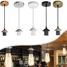 details about e27 rose ceiling light fabric flex pendant lamp holder fitting lighting hc