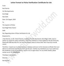 Clearance Certificate Sample Letter Format To Get Police Verification Certificate For Job