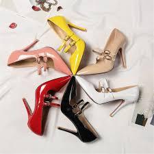 Big Size 10cm <b>High Thin Heel</b> Casual <b>Women</b> Pumps Pointed Toe ...