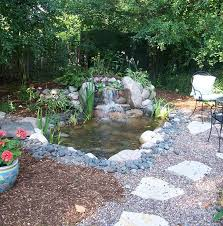 Lawn & Garden:Appealing Small Backyard Waterfall On Fish Pond With Stones  Surround And Completed