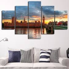 5 piece framed hd printed london bridge landscape picture poster canvas oil painting cuadros wall printing
