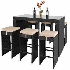 outdoor furniture bar dining set height 7 pc black patio table and inspiration for high table