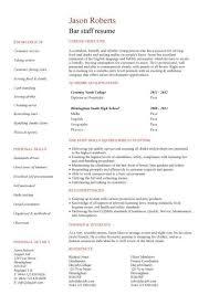 Bar Staff Job Description Student Entry Level Bar Staff Resume Template