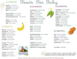 Baby Food Stages Chart Solid Food Chart For Babies Aged 4 Months Through 12 Months