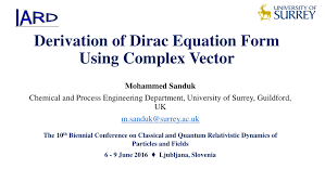 pdf derivation of dirac equation form using complex vector
