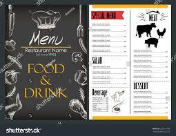 Menu Drawing Design Food Drink Menu Design Restaurant Drawing Stock Vector