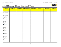 diabetic menu planner meal planning charts blank chart for 1 week help reverse type 2