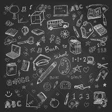 free chalkboard background back to school doodles in chalkboard background stock photo