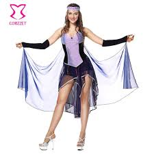 Deluxe Sorceress Costume Purple/Black Fancy Dress With Cape Cosplay Women  Adult Naughty Elves Witch