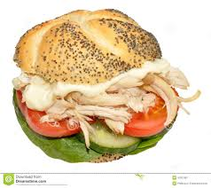 chicken salad sandwich on roll.  Roll Chicken And Salad Sandwich Roll Inside On