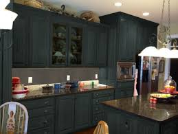 Dark Gray Color Painting Old Oak Kitchen Cabinets With Kitchen