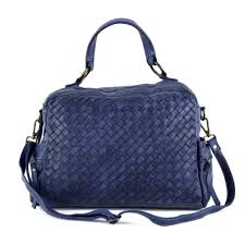 diletta woven leather handbag with strap and handle in navy