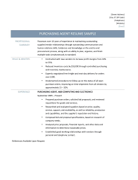 Awesome Collection of Sample Resume For Purchasing Agent On Layout