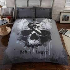 rebel heart skull double duvet cover set snake wings teenager bedding