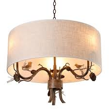 cottage style drum fabric shade curved branch arms bird pinecone 3 light chandelier