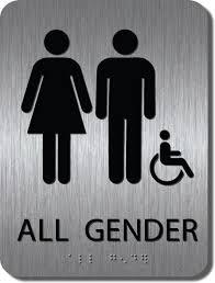 restroom signs.  Restroom ADA Braille Brushed Stainless All Gender Handicap Restroom Sign  6x8  ADAAG2I68 For Signs