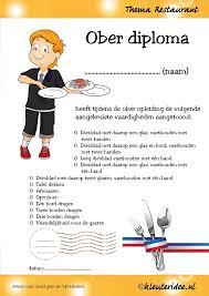 restaurant  ober diploma voor kleuters thema restaurant juf petra van nl waiter