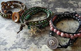 leather wrapped gemstone bracelets
