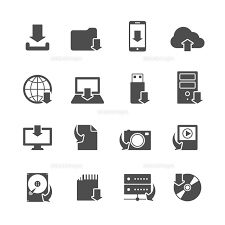 Internet Download Symbols Collection For Computer And Mobile Electronic Devices Black Icons Set Isol