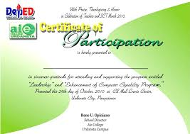 Sports Participation Certificate Template Sports Certificate Ate