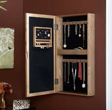 Natural Wooden Wall Mounted Jewelry Armoire