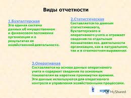 Презентация на тему Тема Бухгалтерская финансовая  4 Виды отчетности 1 Бухгалтерская