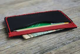 details about black red personalized leather wallet monogram your name credit card holder