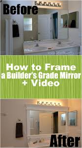 update bathroom mirror: how to frame a builders grade mirror before and after via sewwoodsycom