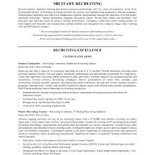Sample Recruiter Resume Resumes Recruiter Resume Military Sample Performance Appraisal Forms 1