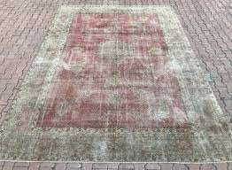 9 3 12 8ft large oushak rug 9 12 oushak rug mute pink oushak rug distressed rug overdy