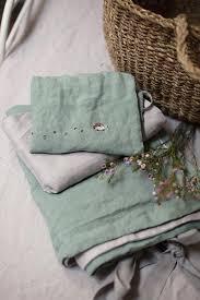 mint green grey linen baby bedding