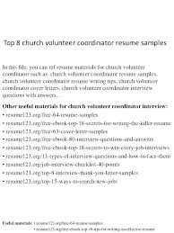 Church Volunteer Resume Sample