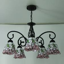five light nature inspired 24 inch pink stained glass tiffany chandelier ceiling light homelava com