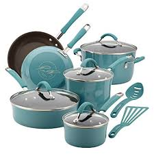 rachael ray pan set. Modren Ray Rachael Ray Cucina Hard Enamel Nonstick 12Piece Cookware Set Agave Blue On Pan Set