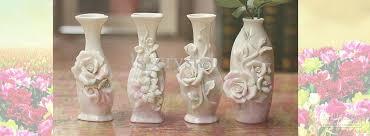 elegant white ceramics 3 rose vases cheap discount cylinder vases