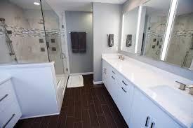 bathroom modern white. Modern White Bathroom With Dark Wood Floor A