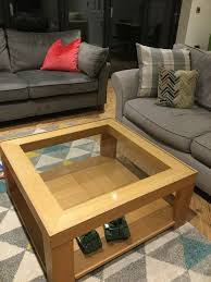 m s solid wood coffee table with glass top