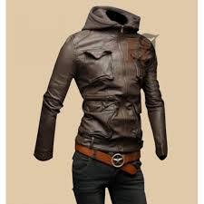 mens hoo biker style slim fit leather jacket stylish brown leather jacket