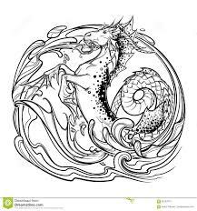 козерог знака зодиака эскиз Bw иллюстрация вектора иллюстрации