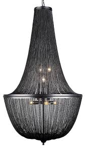 french empire style chainmail 10 light chandelier dark gray with led bulbs