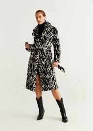 Belted <b>faux fur coat</b> - Women | Mango USA