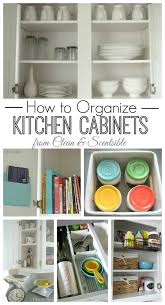 lots of tips and ideas for organizing kitchen cabinets and drawers